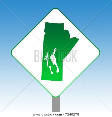Manitoba Map Road Sign