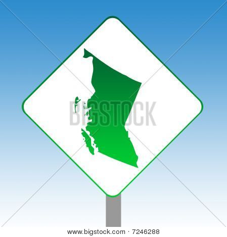 British Columbia Map Road Sign