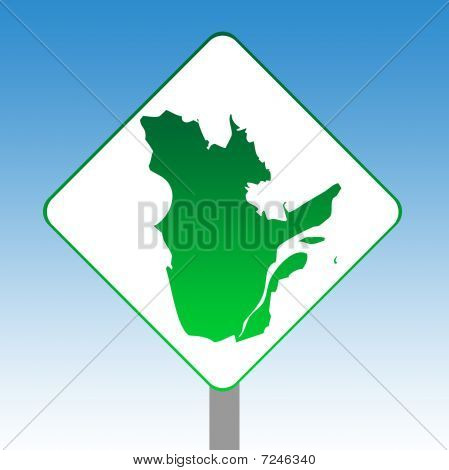 Quebec Map Road Sign