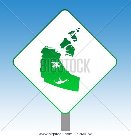 Northwest Territories Map Road Sign