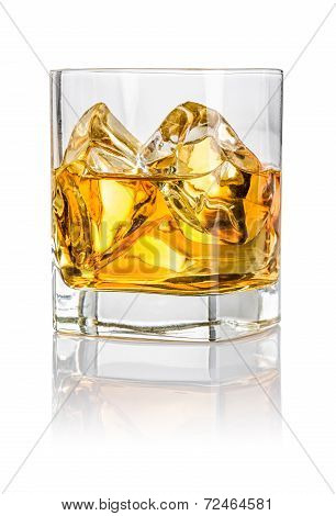 A tumbler with whiskey on the rocks