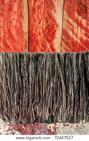 paint brush bristles on wood texture