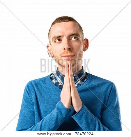 Man Pleading Over White Background
