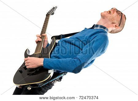 Man With Guitar Over White Background.