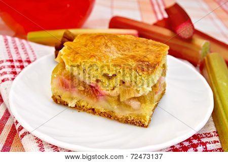 Pie Rhubarb On Napkin With Drink