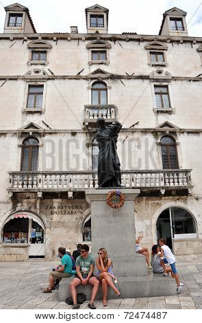 The Statue Of Marko Marulic In Split, Croatia