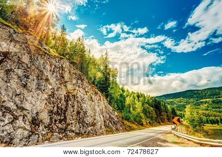 Norway, Road In Norwegian Mountains