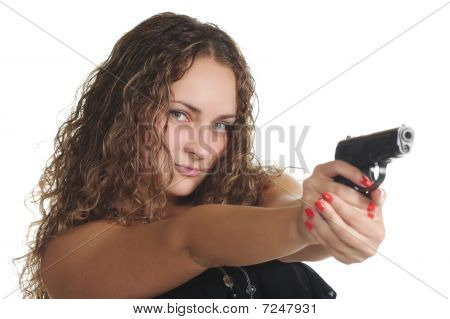 Serious Curly Woman With Gun