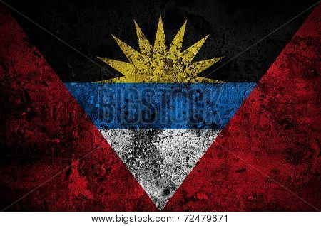 Grunge Flag Of Antigua And Barbuda With Capital In St. John's