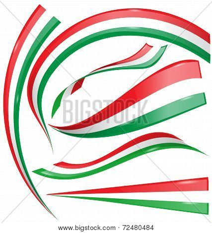 Italian And Mexican Flag Set Isolated On White Background