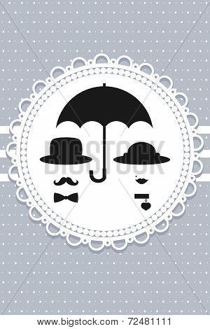 vintage couple under the umbrella