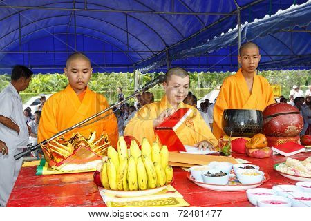 Unidentified Monk Of Taoism Cult Ceremony Preparation At Rayong Vegetarian Festival.