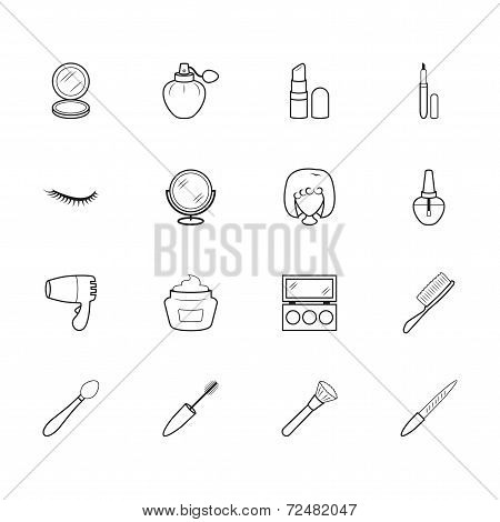Women Makeup Element Vector Black Icon Set On White Background