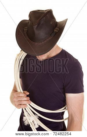 Man In Purple Shirt Hat Rope Look Down