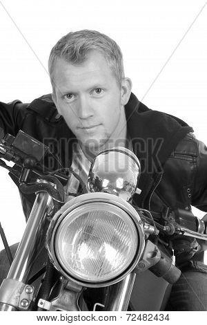 Man On Motorcycle Black Jacket Lean Forward Facing Close Bw