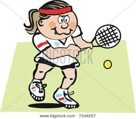 Woman tennis player cartoon