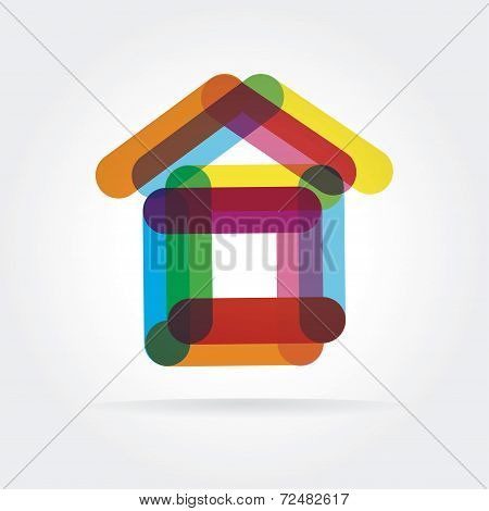 Abstract vector house icon isolated on white background