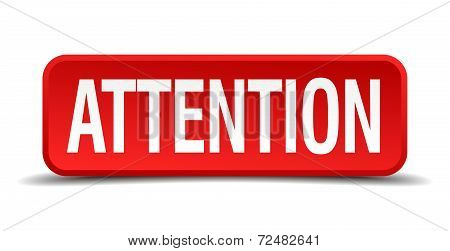 Attention Red Three-dimensional Square Button Isolated On White Background