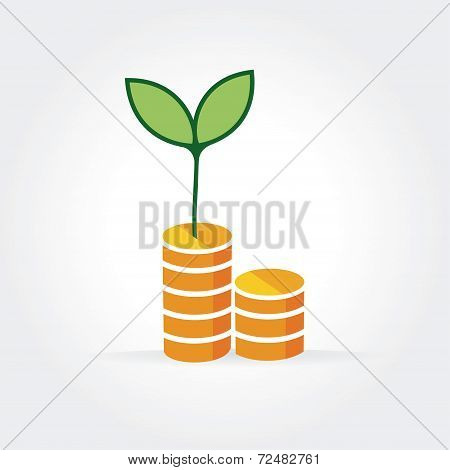 Abstract vector growth money logotype isolated on white background