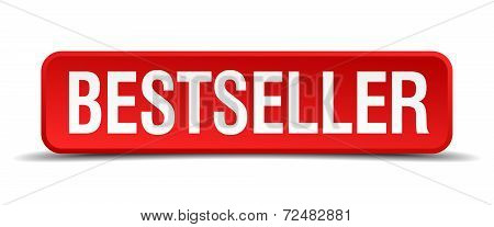 Bestseller Red Three-dimensional Square Button Isolated On White Background