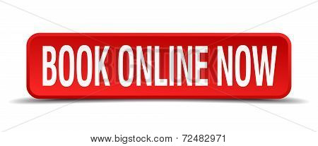 Book Online Now Red Three-dimensional Square Button Isolated On White Background