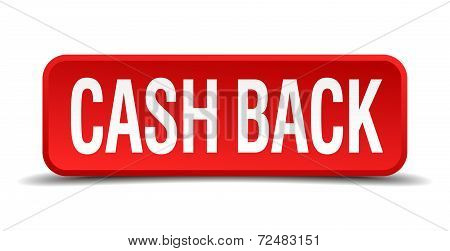 Cash Back Red Three-dimensional Square Button Isolated On White Background