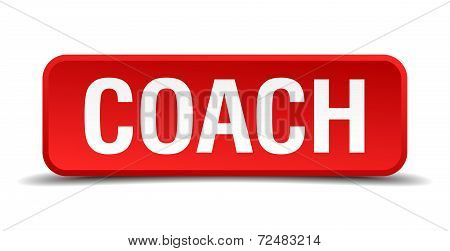 Coach Red Three-dimensional Square Button Isolated On White Background