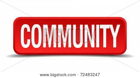 Community Red Three-dimensional Square Button Isolated On White Background