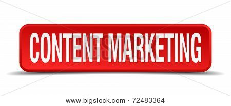 Content Marketing Red Three-dimensional Square Button Isolated On White Background