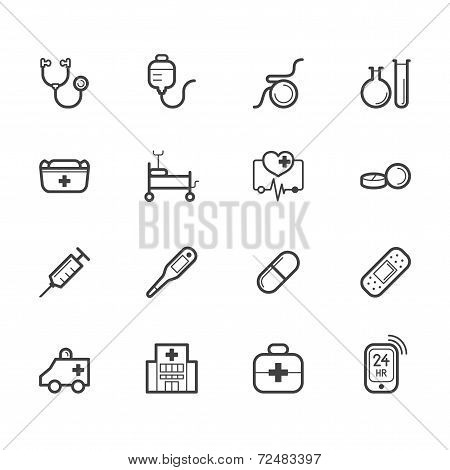 Hospital Element Vector Black Icon Set On White Background