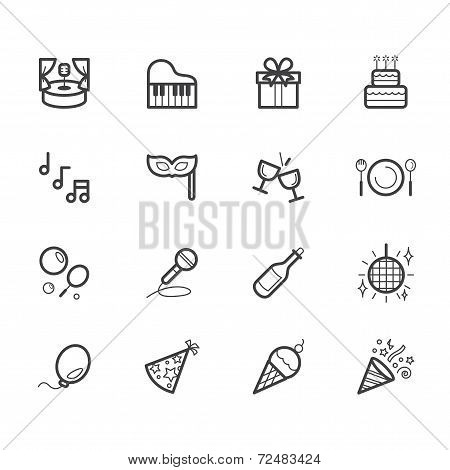 Party Element Vector Black Icon Set On White Background