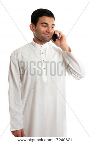 Midldle Eastern Ethnic Man Using Mobile Phone