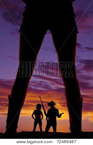Silhouette Woman Legs Cowgirl With Boots