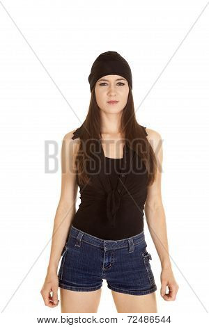 Woman Black Shirt And Hat Look Stand Serious