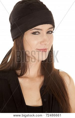 Woman Black Top And Black Hat Smile