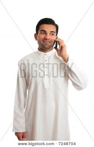 Arab Ethnic Businessman Talking Cellphone