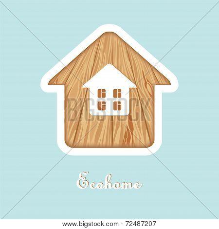 Eco House Wood Texture Isolated Logo Design