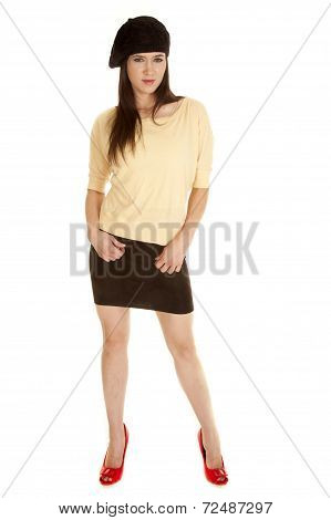 Woman Yellow Shirt Black Hat Red Shoes Standing