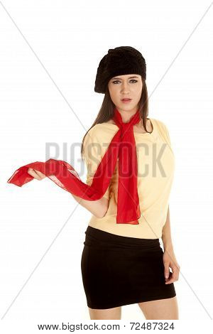 Woman Yellow Shirt Black Hat Scarf Serious