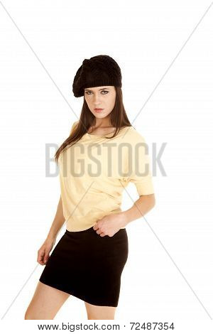 Woman Yellow Shirt Black Hat Stand Side Serious