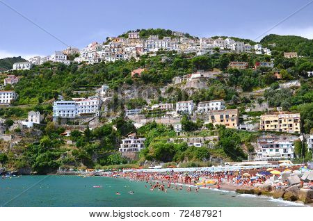 Picturesque summer landscape of vietri sul mare beach, Italy