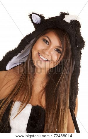 Woman Skunk Close Smile