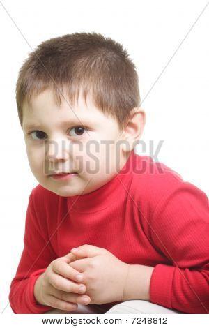 Cute Boy In Red Sweater