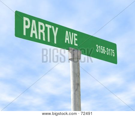 Party Themed Street Sign