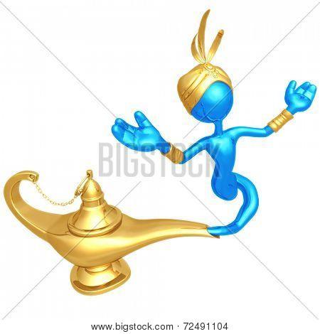Djinn Escaping Magic Lamp
