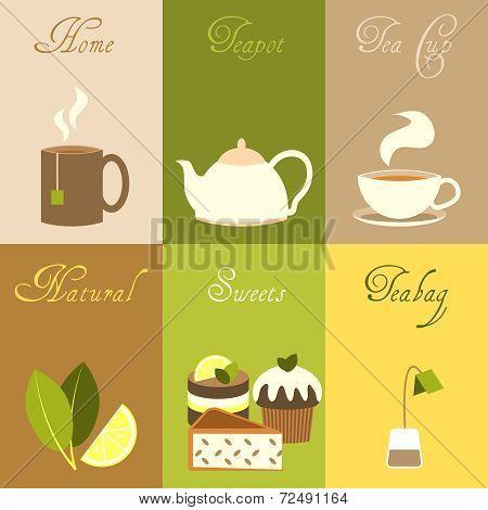 Tea mini posters set