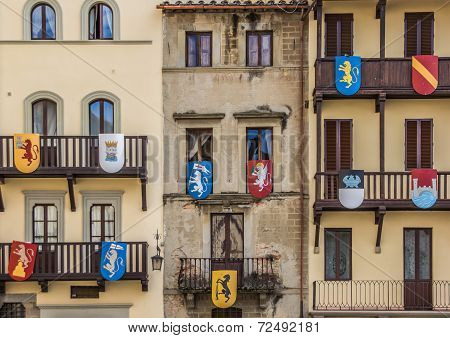 Building With Medieval Shields At The Piazza Grande In Arezzo