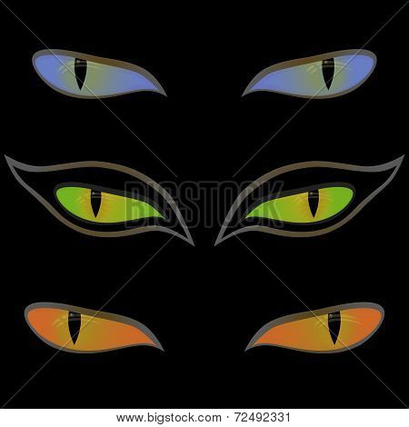 Three Pairs Of Cat Eyes Over Black