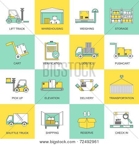 Warehouse icons flat line