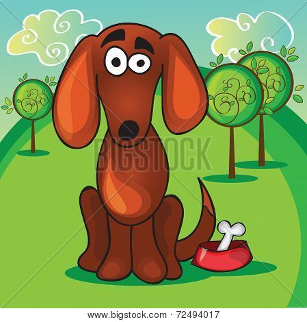 Cute Cartoon Dog With Bone